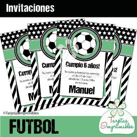 Tarjetas De Invitaciónes Infantiles De Futbol Imagui