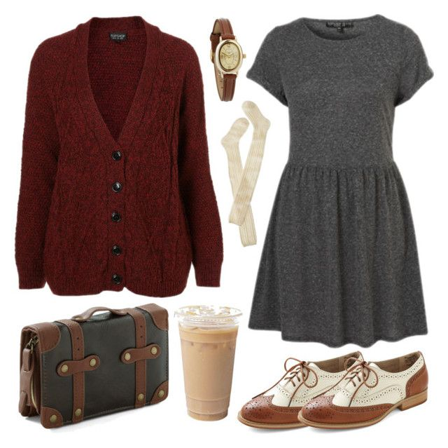 """Cozy wih burgundy"" by hanaglatison ❤ liked on Polyvore featuring Look From London, Topshop, Wigwam, Infinite, burgundy, oxford, socks, brogues, shoes and dress"