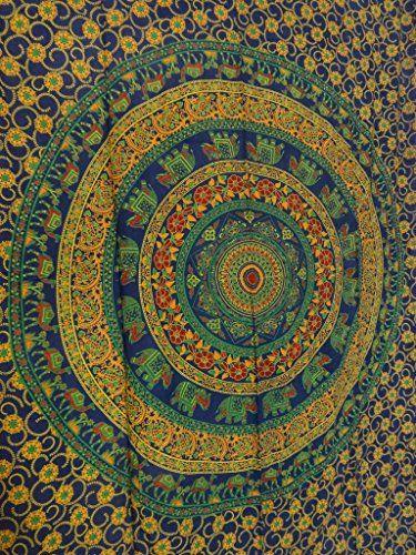 Handicrunch Hippie Bohemian indische Wandteppiche , Psychedelisch Tapisserie Bettwäsche , Tapisserie Wandbehang , Blau Farbthema , Beach Blanket , Tagesdecke