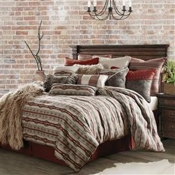 """Silverado Bedding Set Bedding Set: Silverado is a perfect contrast of bold southwest stripes and classic southwestern geometric patterns in shades of rust, smoky taupe and hints of charcoal. Add a splash of color with a fun decor pillow and throw, to make it your own.   Bedding set includes: Comforter, Bedskirt and 2 Standard Faux Leather Pillow Shams, 20"""" x 26"""" (Twin Set has 1 Standard Pillow Sham). Accessory Pillows available."""