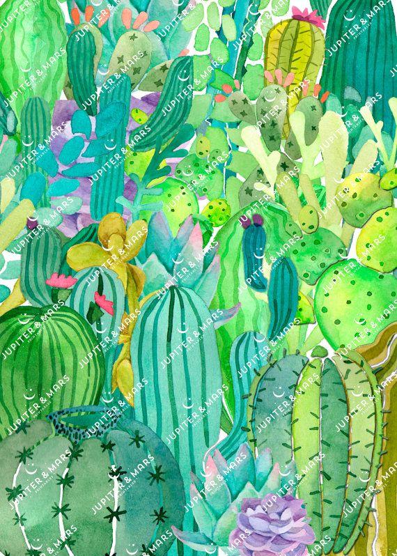 Wüste schicke Aquarell Cactus Fiesta von JupiterAndMarsPrints