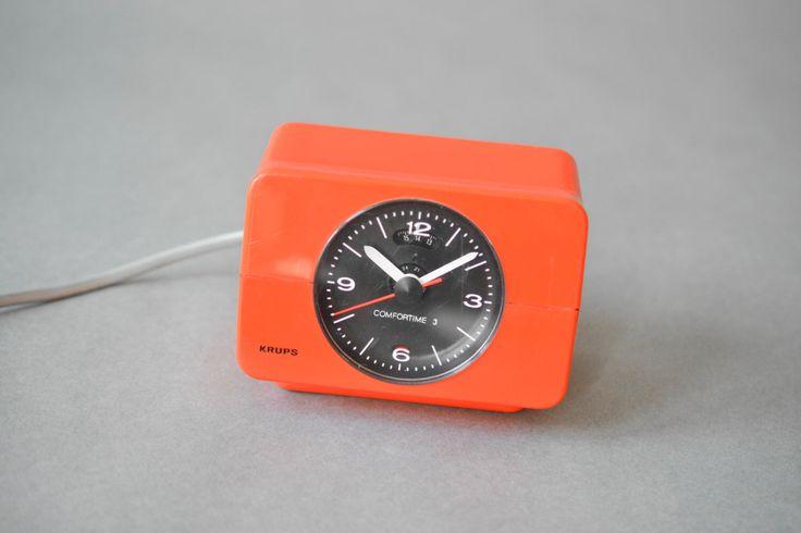 Vintage Krups alarm clock, Krups clock, Krups orange clock, space age, atomic age,  by MightyVintage on Etsy https://www.etsy.com/listing/266842632/vintage-krups-alarm-clock-krups-clock