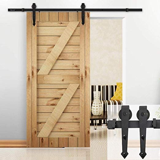Yaheetech 6 Ft Interior Black Steel Single Sliding Barn Closet Door Hardware Track System Kit Set With Images Sliding Door Hardware