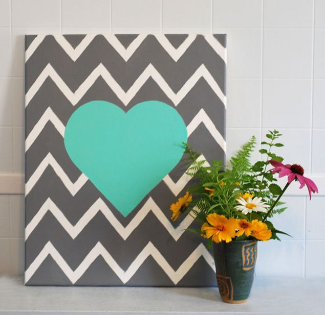 DIY Wedding Project: Chevron Heart Wall Hanging Decor   WedLoft ~#repinned by Lori Cole Events