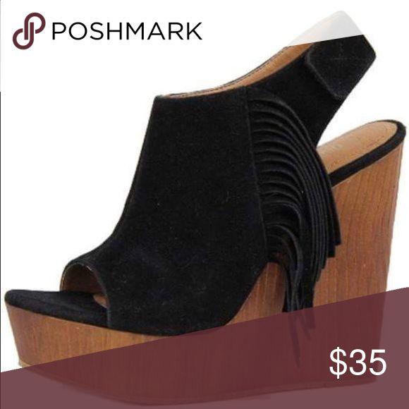 Flash Sale! Black Fringe Side Wedges Black Fringe Side Wedges-Fit True to Size Shoes Wedges