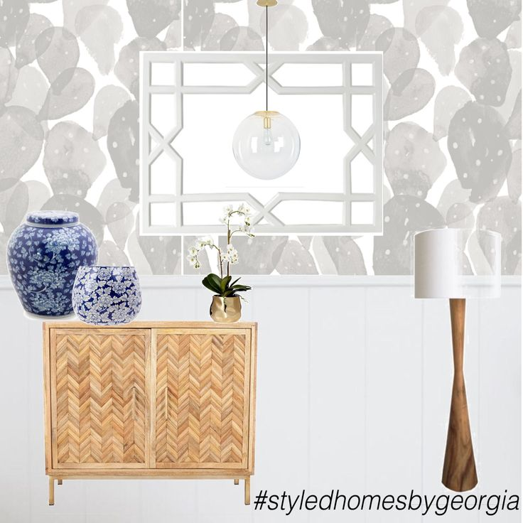 Love the mix of styles!  Wallpaper | Panelling | Soft Grey | Whites | Timber | Blue #uistylistscout #styledhomesbygeorgia #moodboard #entry #foyer #interiors #design #propertystylist #melbournestylist #interiordecorator
