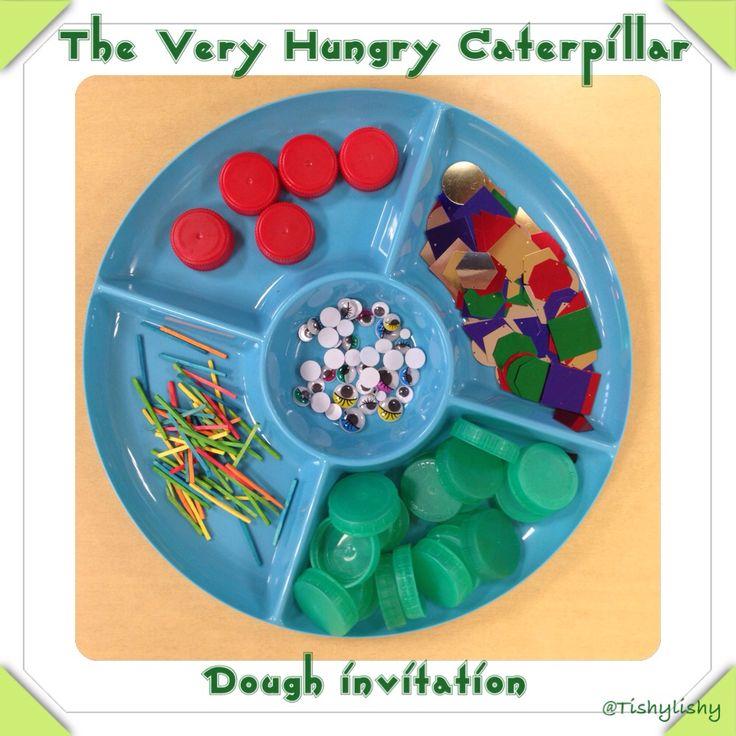 The Very Hungry Caterpillar dough tray invitation.