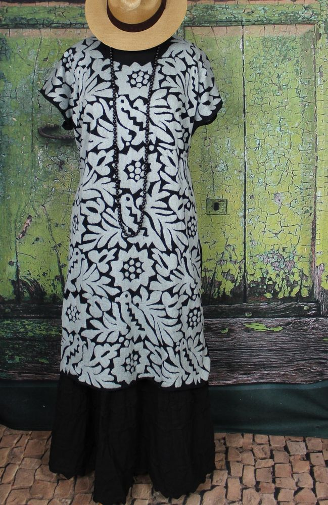 Silver & Black Hand Embroidered Huipil Dress Jalapa Oaxaca Mexico Santa Fe Style #Handmade #MexicanDress