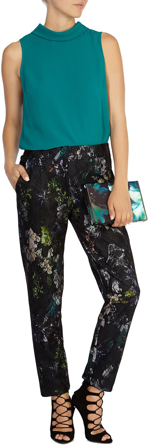 Womens teal fraser printed trousers from Coast - £79 at ClothingByColour.com