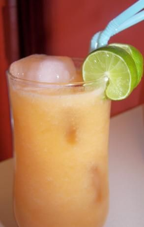 cantaloupe agua fresca. not alcoholic, but who says we couldn't add a little tequila or rum?