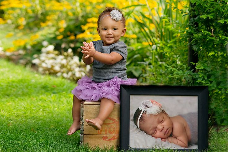 one year old photo session idea- include a newborn picture each year