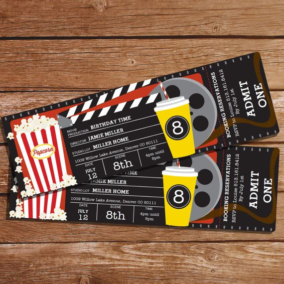 Movie Party Invitation   Movie Ticket Invitation   Instant Download And  Editable File   Personalize At Home With Adobe Reader  Create Your Own Movie Ticket