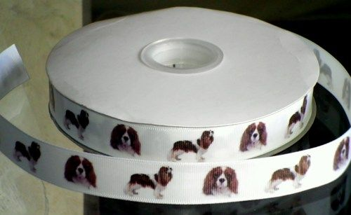 "This listing is for 2 continuous yards of 7/8"" wide white double faced satin/grosgrain ribbon (your choose, just memo which type you'd prefer when checking out)  with King Charles Cavalier Spaniel dog"