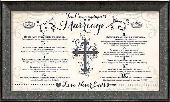 Ten Commandments Of Marriage Framed Art Marriage Frame Marriage Marriage Verses
