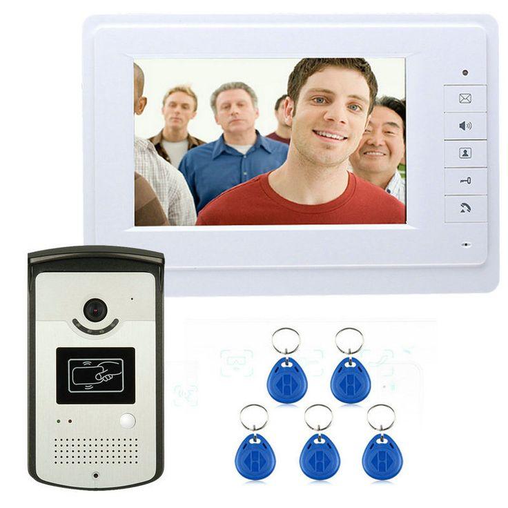 New 7 inch Color Video Door Phone Intercom Doorbell System + 1 Monitor + RFID Access Waterproof Camera In Stock