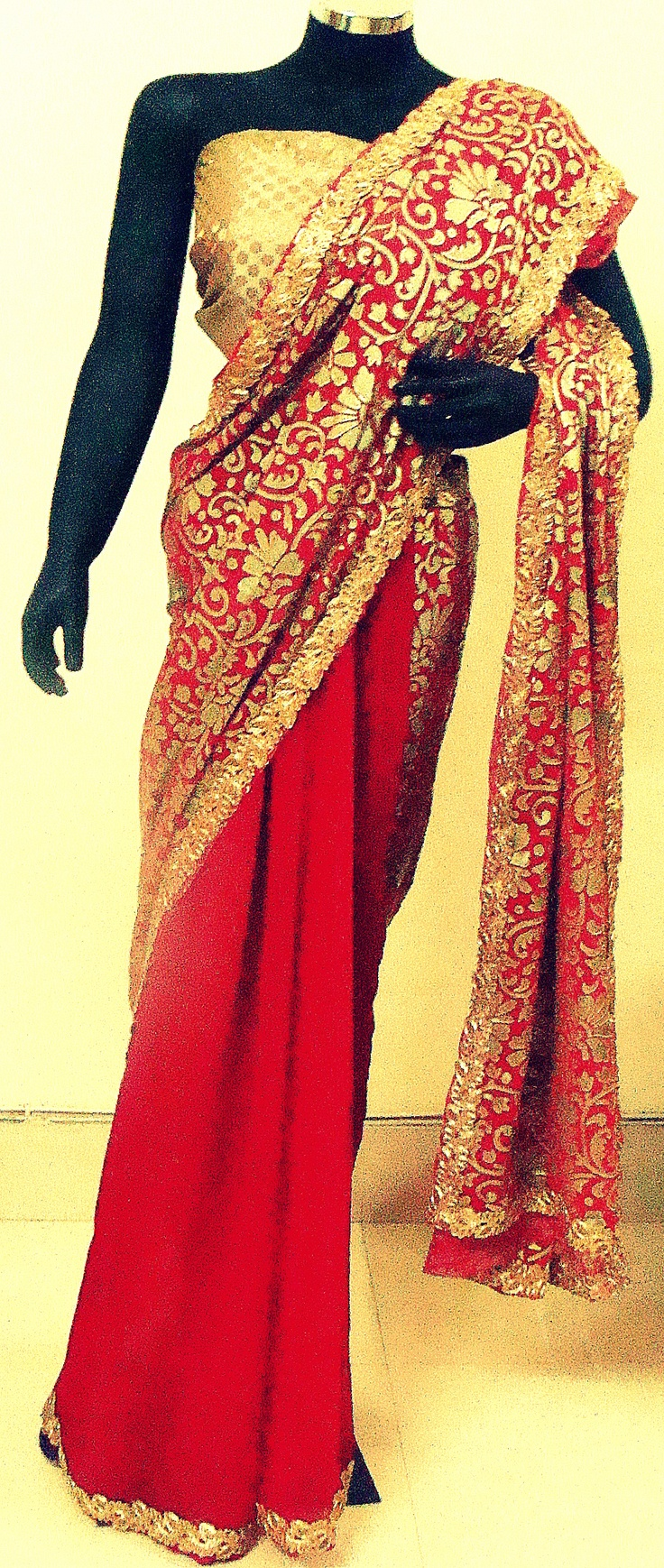 Red half and half saree