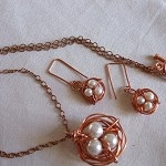 Bird nest Spring has Sprung Pendant with Copper and Pearl Eggs on antiqued chain - by FeminineFusion on madeit