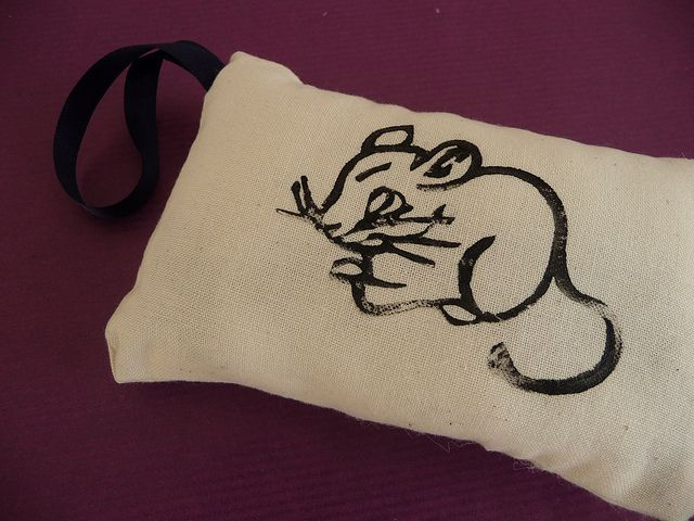 Lino Printed Mouse Lavender Bag by English Girl at Home, via Flickr