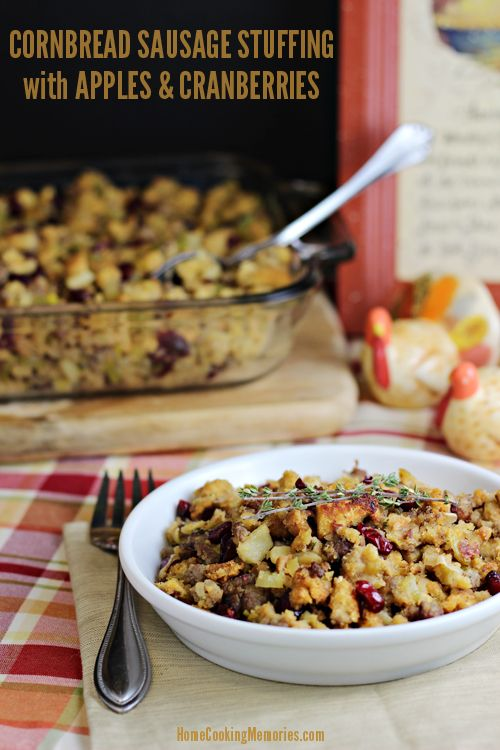 Cornbread Sausage Stuffing with Apples and Cranberries for Thanksgiving or Autumn dinners