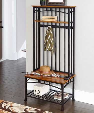 This Oak Modern Craftsman Hall Tree is perfect! #zulilyfinds