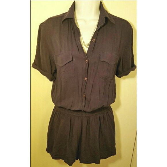 🎄SALE🎄 Adorable Dark Blue Romper Adorable Dark Blue Romper. Stretchy around the waist and the top buttons up. The sleeves have been altered please see pics. This romper is very sexy and cute for an afternoon date or girls time.  Bundle & Save BCBGeneration Shorts