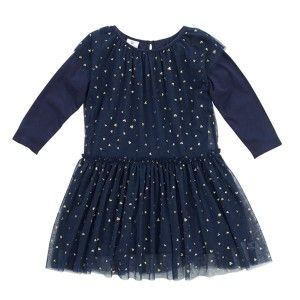 Hootkid Falling Heart Dress - Navy Print Tulle