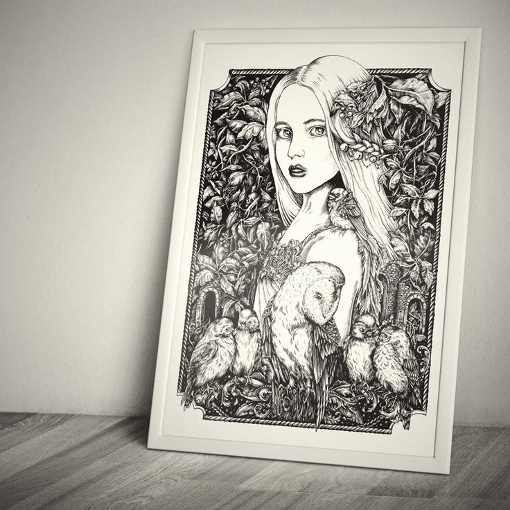 Original drawing «Secret garden» artwork, ink on paper - fairytale illustration, a girl, birds, owl and leaves by TheoreticalPart on Etsy