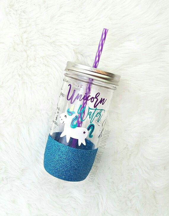 Unicorn Water Custom 24 oz. Mason Jar - yup, pink us an option. $18/etsy