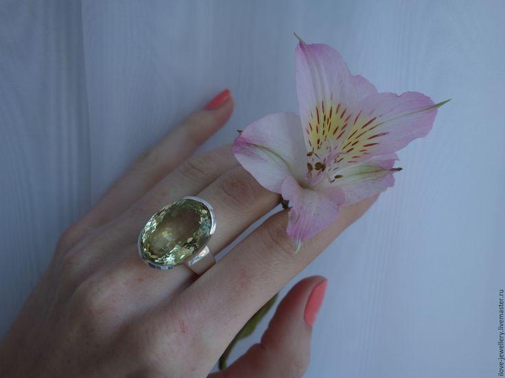 """Купить """"Ясмин""""-стильный женский перстень с лимонным цитрином - лимонный, перстень с цитрином"""