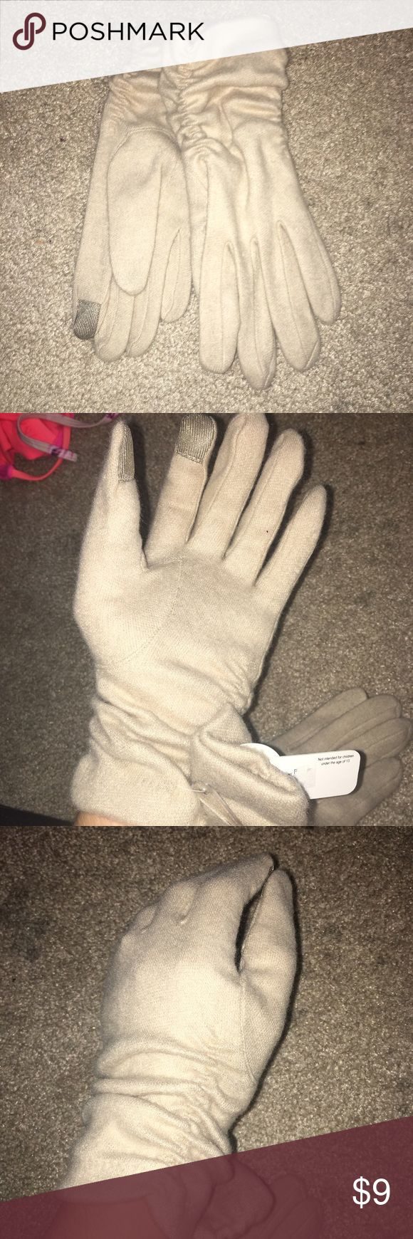 Text friendly soft hand gloves BRAND new cream hand gloves, super soft and the best part is u can use ur smart phone while wearing them Accessories Gloves & Mittens