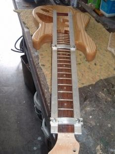 Neck Alignment Jig - Homemade guitar neck alignment jig fabricated from aluminum flat bar and hardware. Intended to secure glued necks while allowing for minute adjustments.