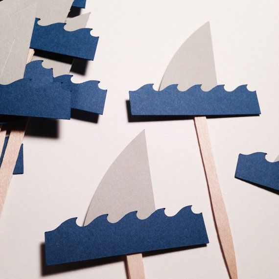 24 CT Shark fin cupcake toppers . Under the by twinepaperscissors