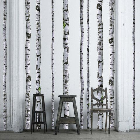 Birch Tree Decals on white painted wall. @Walls Need Love