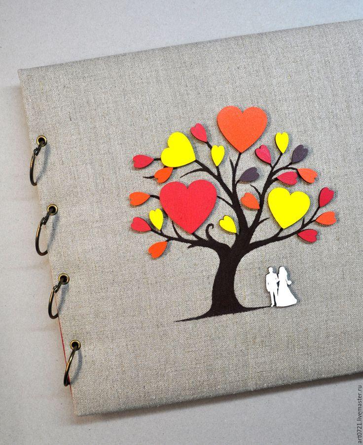 """Купить Свадебный альбом """"Осенний"""" - яркий, дерево, дерево любви, книга пожеланий"""