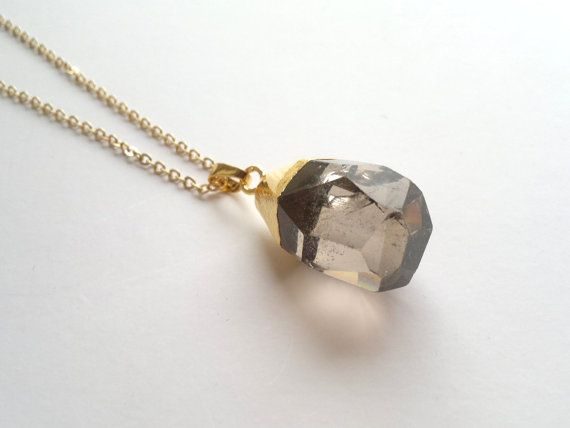 Gold Dipped Smoky Quartz Crystal Necklace Stone Pendant Brown