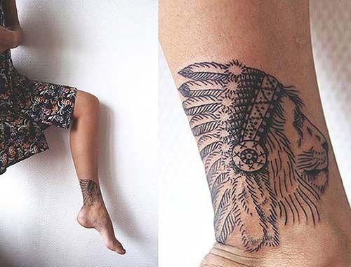 native american lion tattoo for ankle kızılderili aslan dövmesi ayak bileği