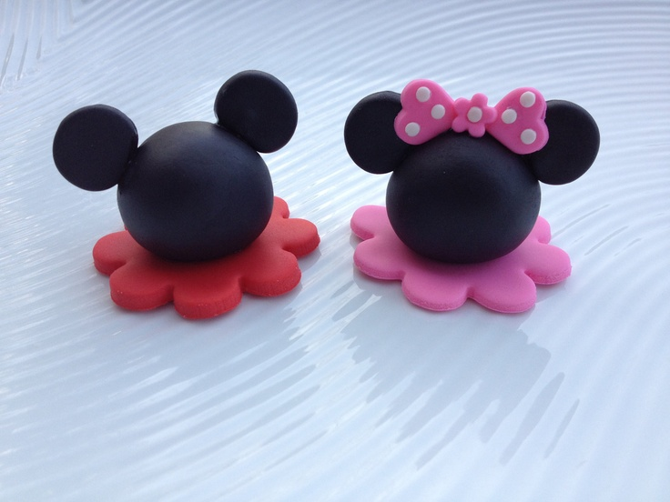 edible cupcake toppers mickey mouse and minnie mouse inspired. $16,50, via Etsy.