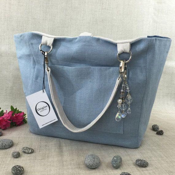 Weiße Tasche Leinen und recycelten Jeans von von OrigineCreation