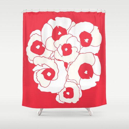 poppies flower shower curtain red shower curtain bathroom shower curtains romantic bathroom decor