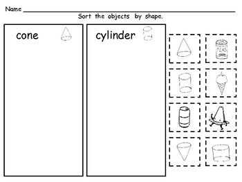 FREE Sorting Shapes Practice Pages- Both 2-d and 3-d (Solid) Shapes - Melissa Williams - TeachersPayTeachers.com