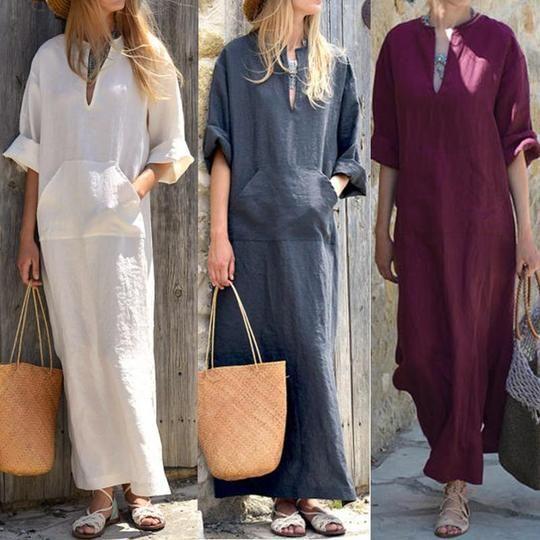 Women Vintage Linen Dress 2019 Summer Sexy V Neck Long Sleeverricdress