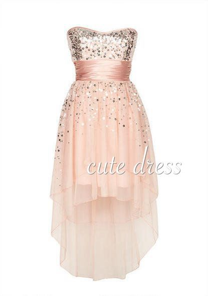Cute tulle sequin short light pink prom dress for teens, homecoming dress, modest prom dress