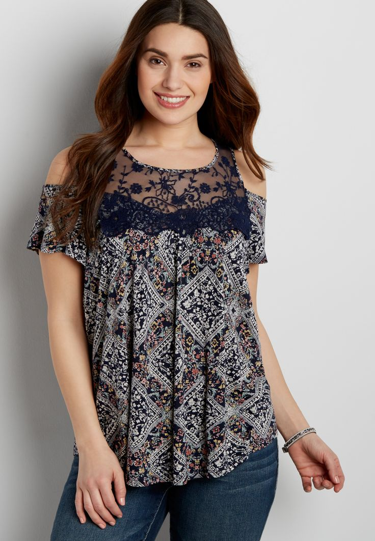 cold shoulder tee with embroidered yoke (original price, $32.00) available at #Maurices