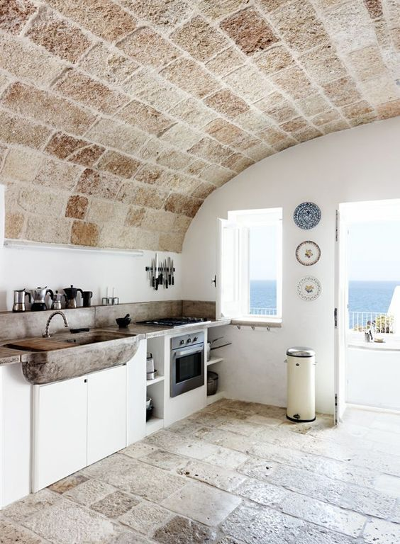 Good Mediterranean Kitchen With Limestone, Flush, High Ceiling, Farmhouse Sink,  Step On Metal Images