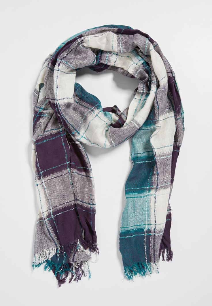plaid scarf with metallic stitching in paradise teal combo (original price, $18.00) available at #Maurices