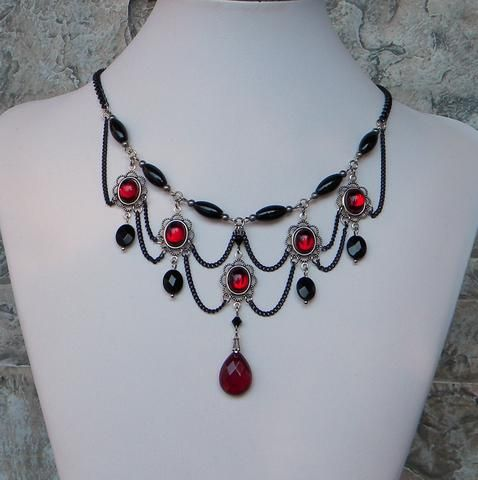 68 best jewelry made by me erica images on pinterest a dainty chandelier necklace black and garnet red graceful with ovals timelessly elegant aloadofball Gallery