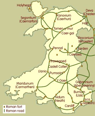 Roman Forts in Britain | map showing the major Roman forts and roads in Wales.