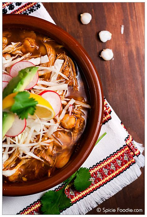 Spicie Foodie: Mexican Chicken pozole recipe; How to make Pozole; receta; recipe; pozole; chicken; rojo; red pozole; authentic; chiles for pozole; chiles para pozole; hominy; stew; soup;