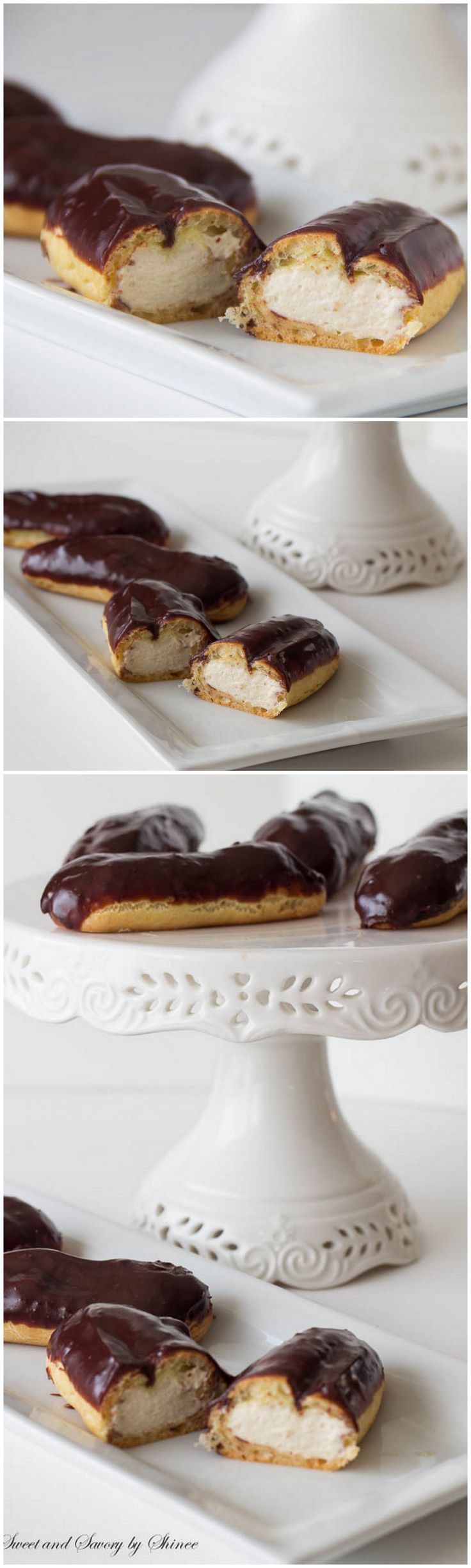 Delicious eclairs filled with vanilla pastry cream from scratch. Step-by-step photo recipe is included. ~Sweet and Savory by Shinee