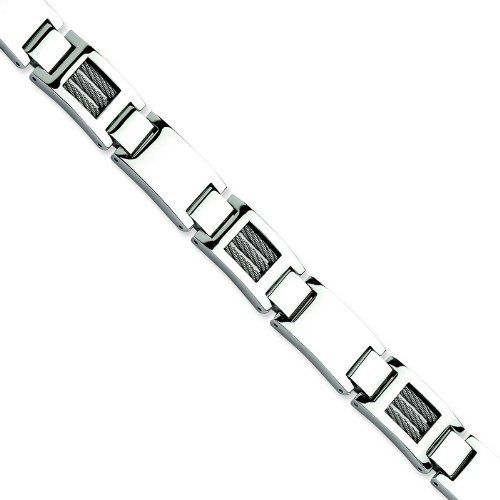 Stainless Steel Wire Polished 8.5in Bracelet. Metal Weight- 59.29g. 8.5in long. Jewelrypot. $46.99. All Genuine Diamonds, Gemstones, Materials, and Precious Metals. Fabulous Promotions and Discounts!. Your item will be shipped the same or next weekday!. 100% Satisfaction Guarantee. Questions? Call 866-923-4446. 30 Day Money Back Guarantee
